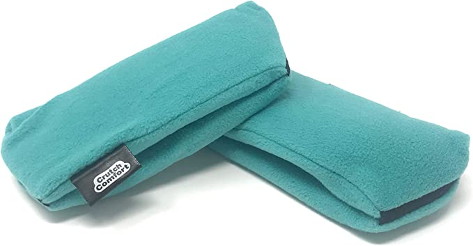 Universal Crutch Underarm Pad Covers - Luxurious Soft Fleece with Sculpted Memory Foam Cores (Teal)