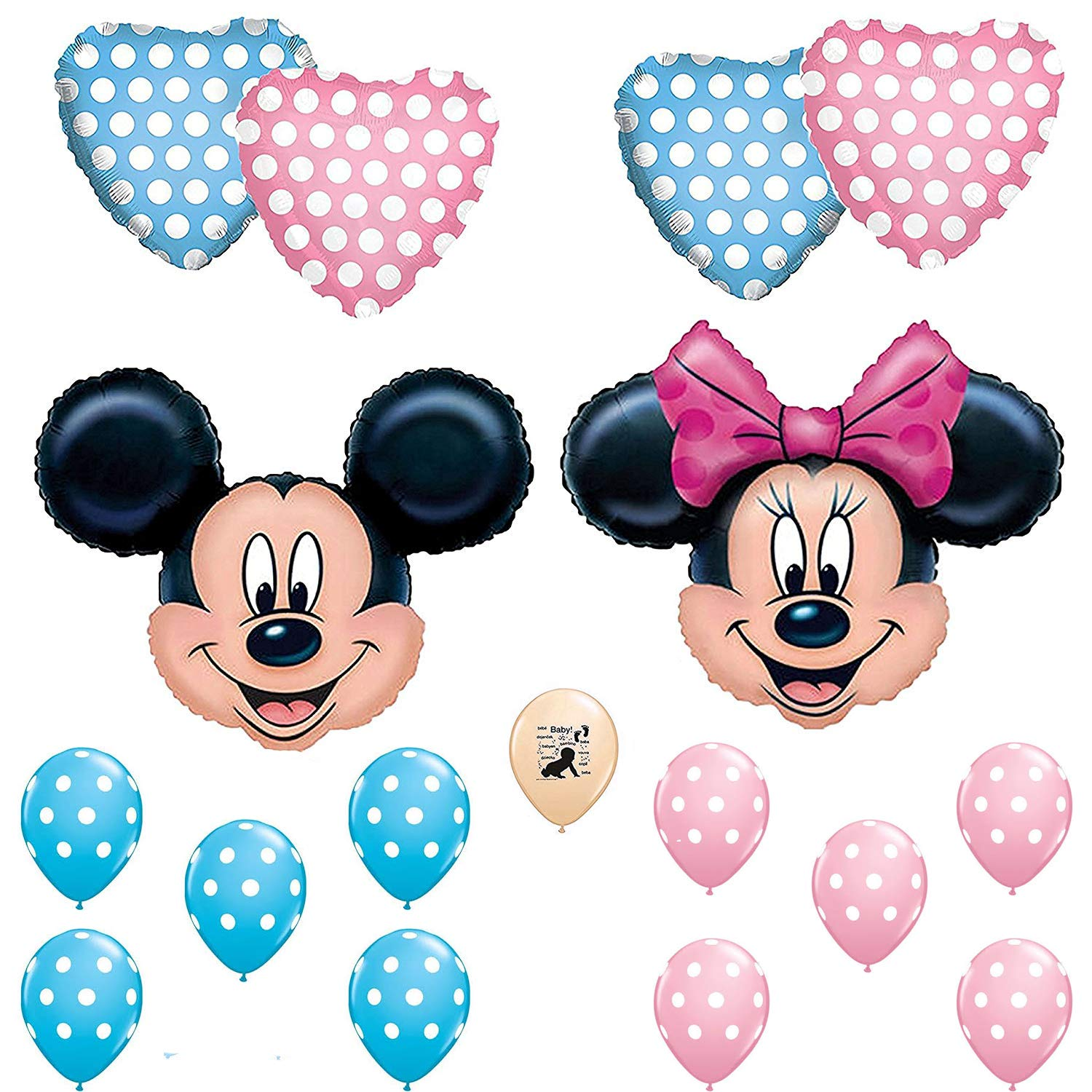 Combined Brands Mickey and Minnie Mouse Gender Reveal Baby Shower Balloon Decoration Kit