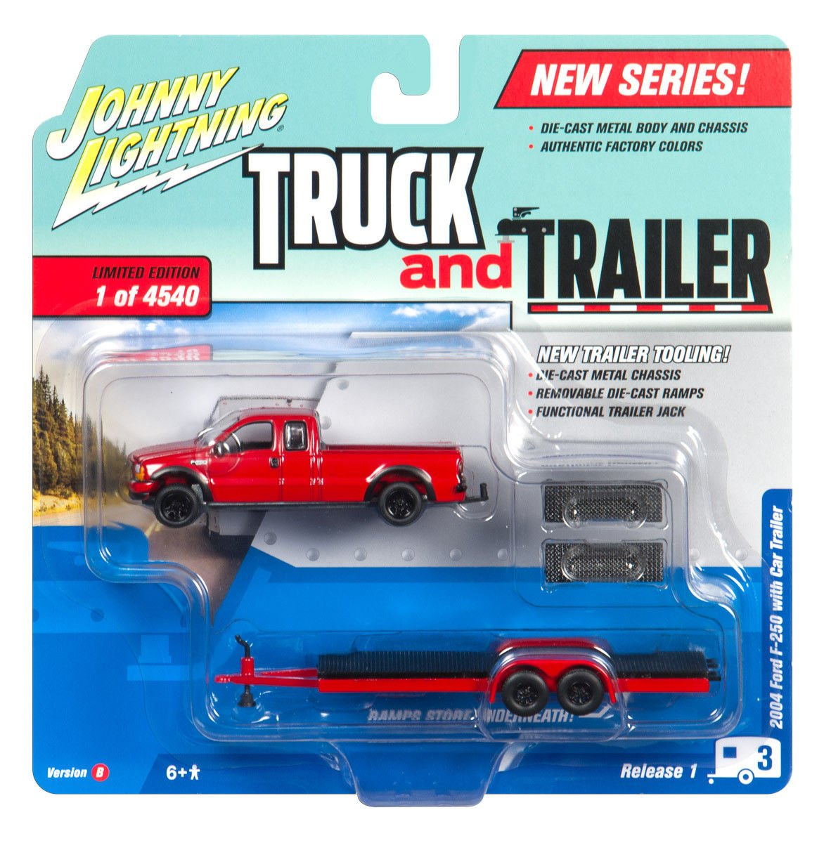 New 164 Auto World Johnny Lightning Truck Trailer Ford F 250 Toy Collection Red 2004 Flatbed Diecast Model Car By Toys