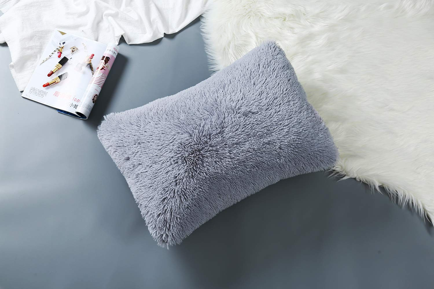 Light Gray Size 17x26, Solid Color SHUNHAO 100/% Cotton Fluff Pillowcase for Hair and Skin Breathable Hypoallergenic Odor-Free Washable Soft and Comfortable 1pc
