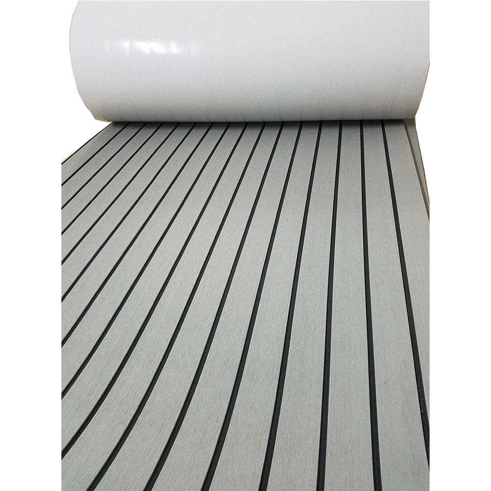 EVA Faux Teak Decking Sheet For Yacht/Boat Non-Slip Pads 94.5''x35.5'' Light Grey with Black Lines