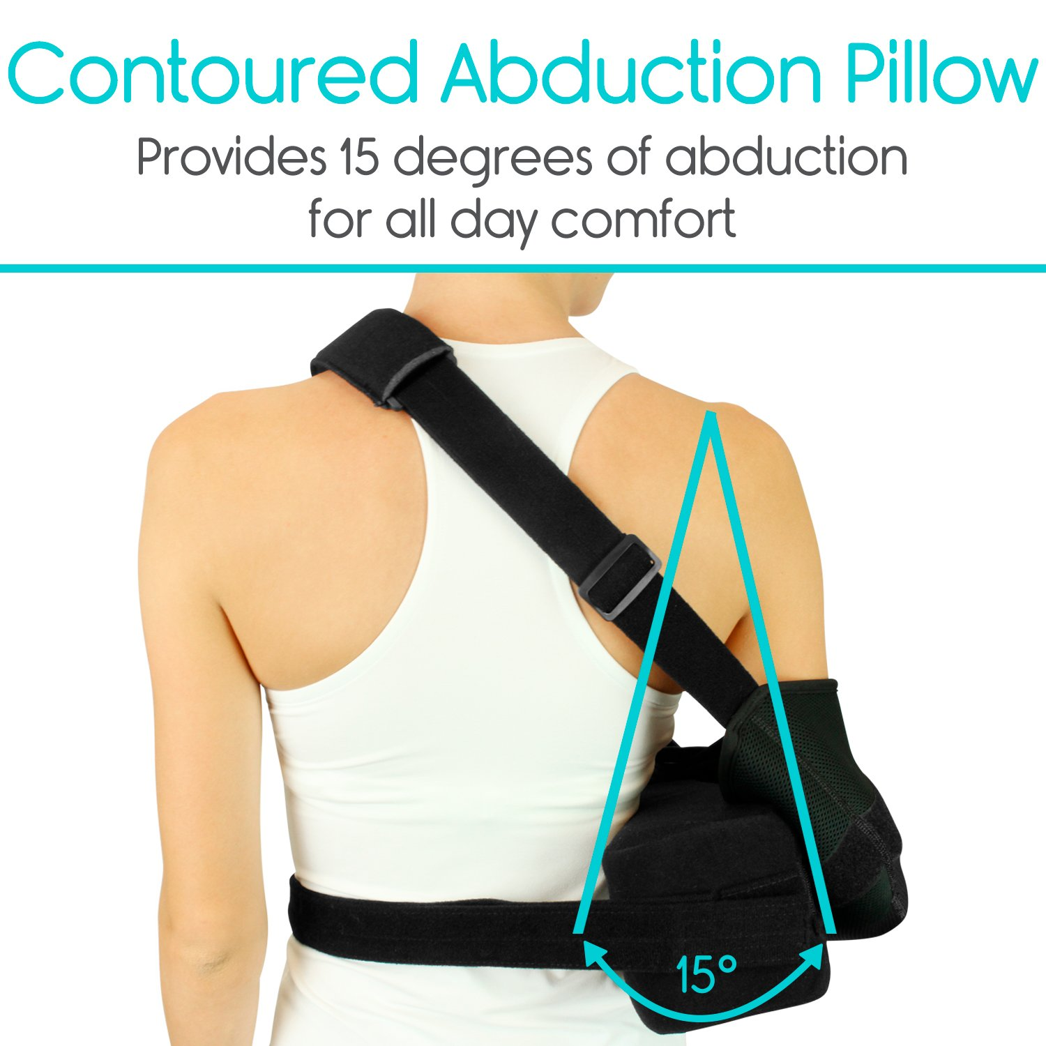 Vive Shoulder Sling - Abduction Immobilizer for Injury Support - Pain Relief Arm Pillow for Rotator Cuff, Sublexion, Surgery, Dislocated, Broken Arm - Brace Includes Pocket Strap, Stress Ball, Wedge by VIVE (Image #2)