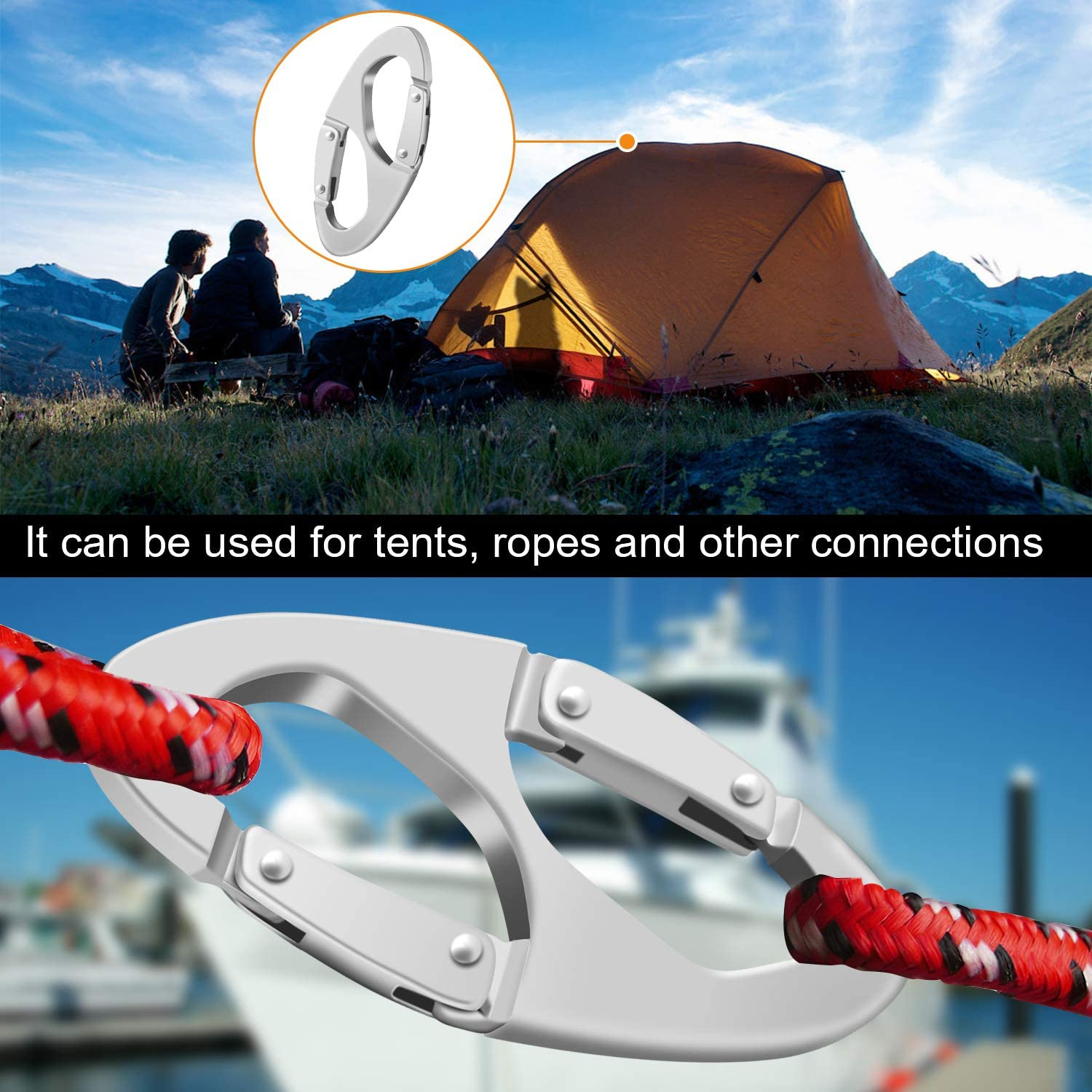 Tsuinz Carabiner Snap Hook Camping and Outdoor Livings Hiking Aluminum Alloy Rope Buckle S Style Snap Clip Hook Keychain for Climbing