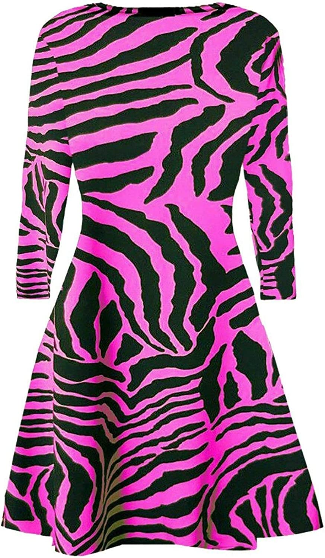 Women Ladies Zebra Print Neon Long Sleeves Flared Party Top Swing Dress Fancy