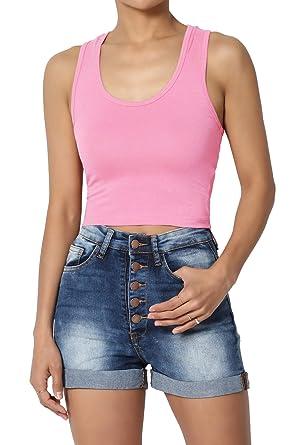 ac12db4e4d464e TheMogan Junior s Basic Sleeveless Racerback Cotton Cropped Tank Top Candy  Pink S