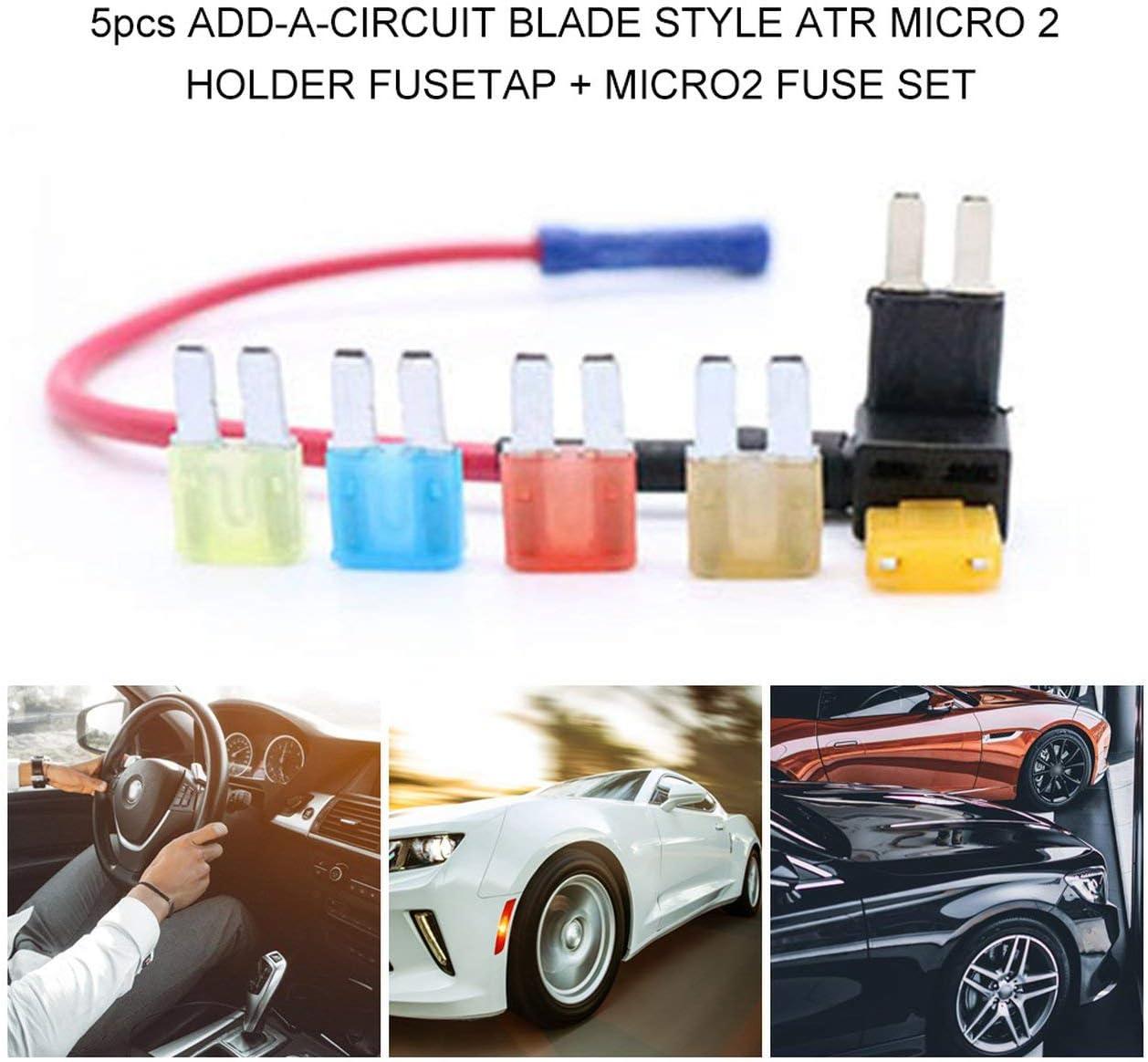 Ba30DEllylelly F/ür Micro2 ATR Automotive Sicherungen Verschiedene Sicherungshalter 5 STK Lumision 5A 7.5A 10A 15A 20A Set Pak Auto Insurance Tablets
