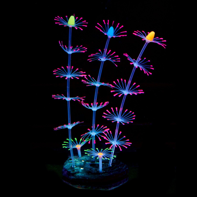 Uniclife striscia corallo pianta ornamento incandescente effetto di silicone artificiale decorazione per acquario, acquario paesaggio–rosa acquario paesaggio-rosa