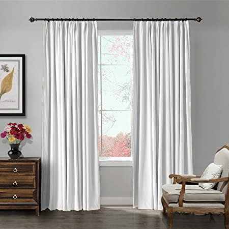 ChadMade Pinch Pleat 100W x 96L Blackout Lined Velvet Curtain Drapery Panel for Traverse Rod or Track, Living Room Bedroom Meetingroom Club Theater Patio Door 1 Panel , White