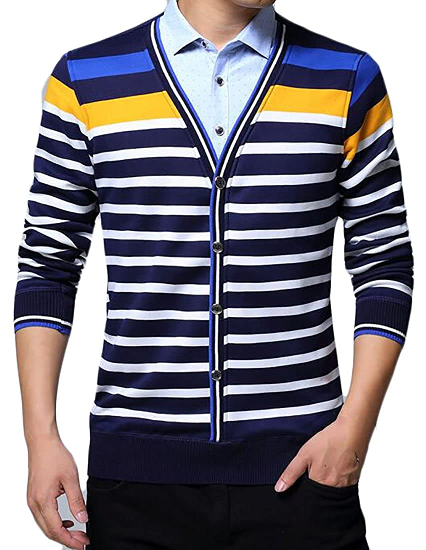 ZXFHZS Mens Stripe Knit Fake Two Pieces Stretch Slim Fit Pullovers Sweater