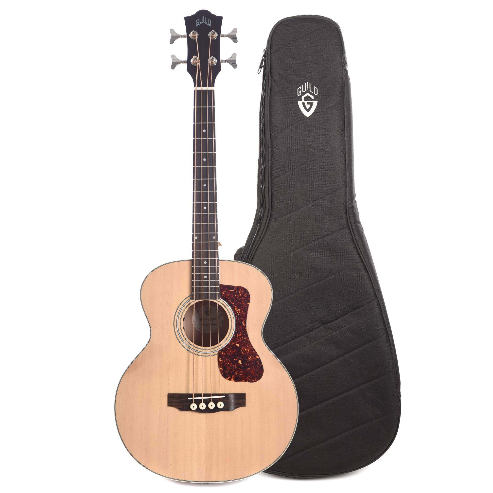Guild Westerly Jumbo Junior Bass Flamed Maple Antique Blonde Satin and Deluxe Acoustic Guitar Gig Bag Bundle