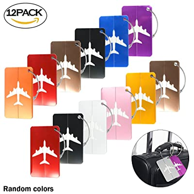 12Pcs Creatiee Travel Luggage Tags with Stainless Steel Ropes for Luggage Bag Identifier/Travel Accessories(Mixed Colors)