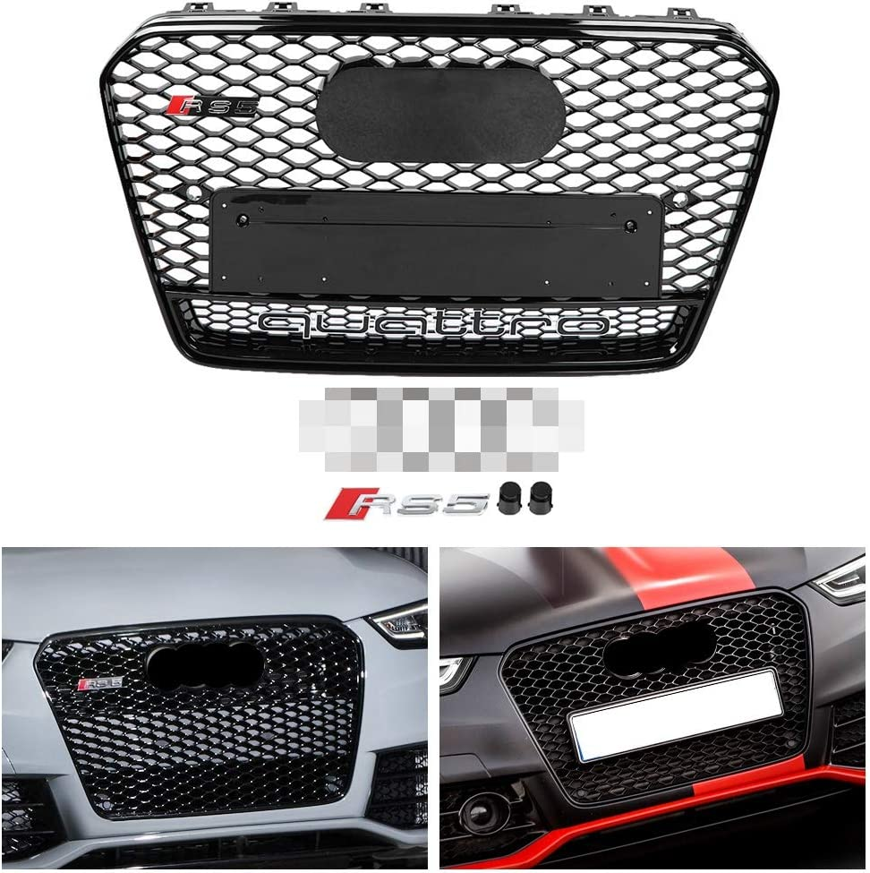 Duokon RS5 Quattro Style Hex Mesh Honeycomb Grill,Front Sport Hex Mesh Honeycomb Hood Grill Black for A5//S5 B8.5 13-16