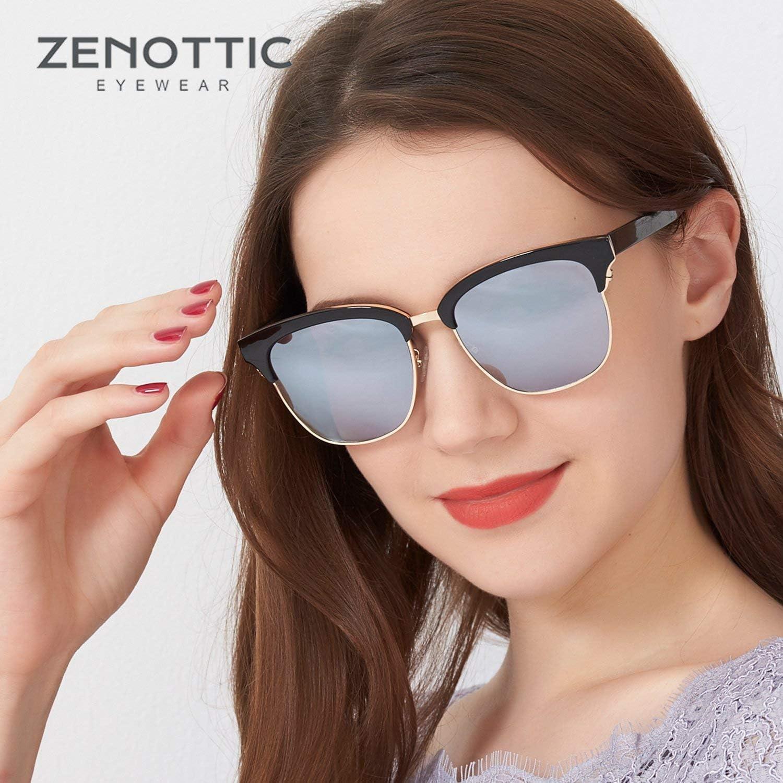 ZENOTTIC Cl/ásico Gafas de Sol Medio Marco para Mujer Hombre Gafas de Sol Retro
