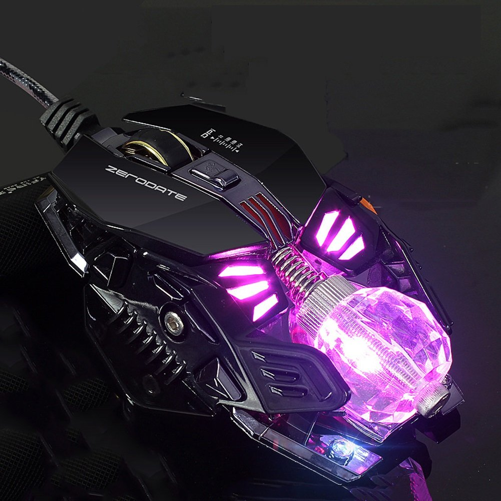 Color : White Gaming Mouse 8 Programmable Buttons,4 Levels Adjustable DPI/&LED Light Ball Computer Mouse