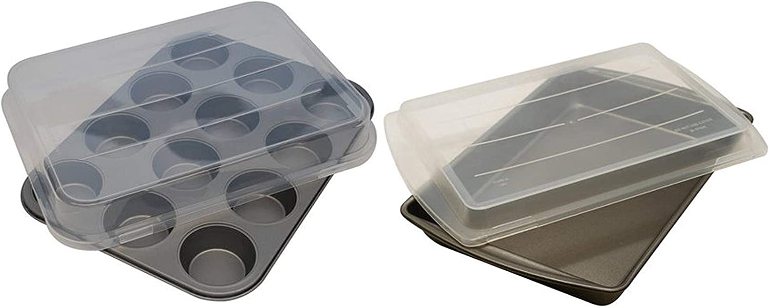 """Mainstays Non-Stick 12-Cup Cupcake Pan with Lid bundle with Mainstays Non-Stick