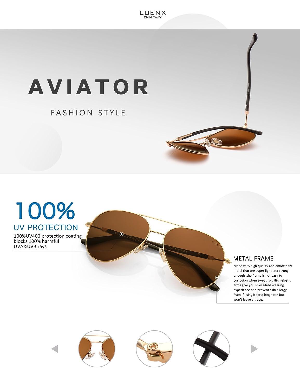LUENX femme Aviator Lunettes de soleil polarisées avec étui - UV 400 Miroir de protection Bleu lunettes Argenté monture 60mm f8FS8W