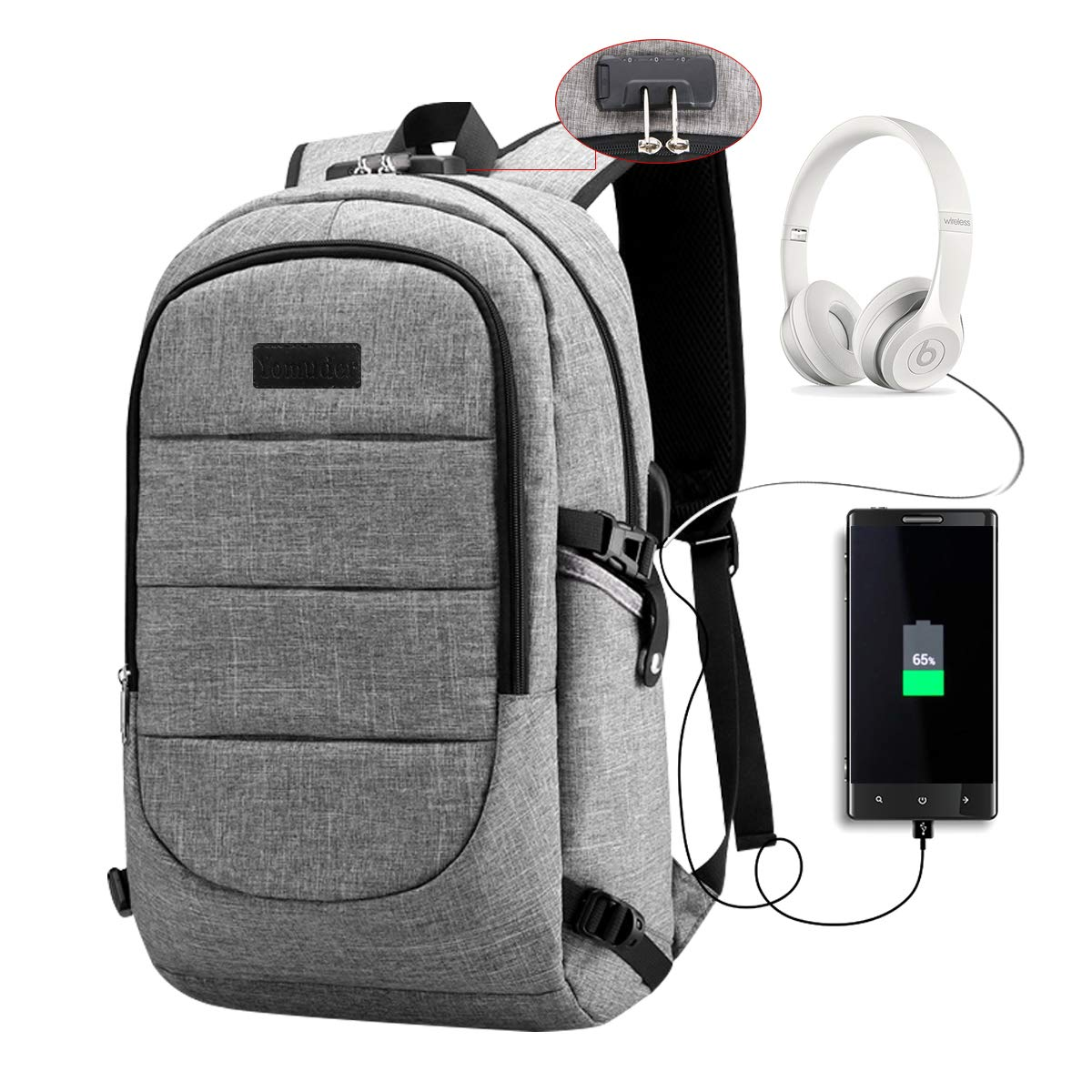 Yomuder Laptop Backpack Computer Backpack for Men Women Anti Theft Students Travel Business Water Resistant Laptop Bag with USB Charging Port Fits Laptop Notebook up to 15.6 Inches Grey