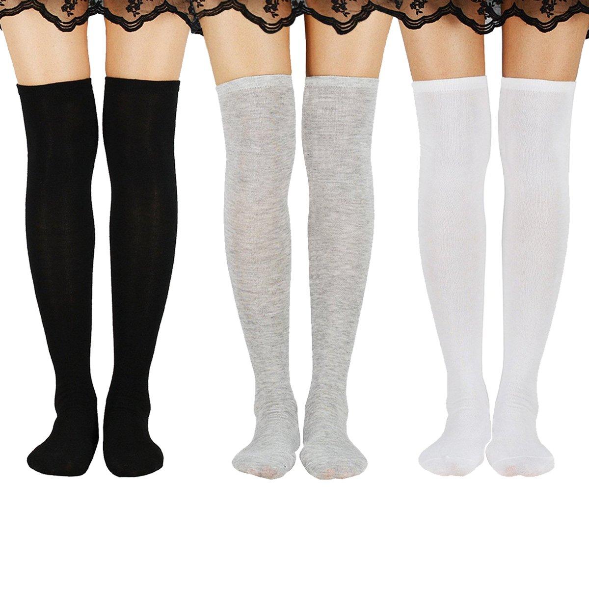Zando Womens Casual Knee High Socks Thigh High Tube Stockings Sock 3 Pairs Black White Grey One Size