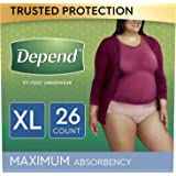 Depend FIT-FLEX Incontinence Underwear for Women, Maximum Absorbency, XL, 26 Count