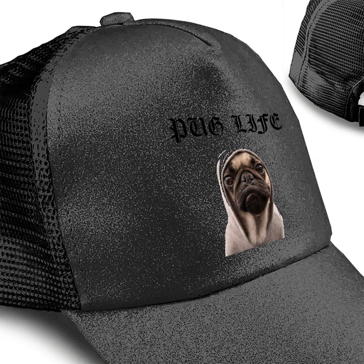 Pug Life Ponytail Messy High Bun Hat Ponycaps Baseball Cap Adjustable Trucker Cap Mesh Cap