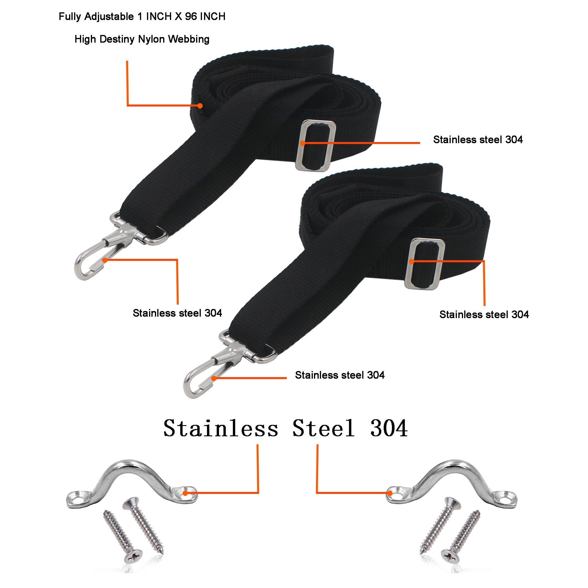 YYST Bimini Top Strap Boat Top Strap Bimini Awning Straps W/Stainless Steel Pad Eyes and Hardwares by YYST (Image #2)