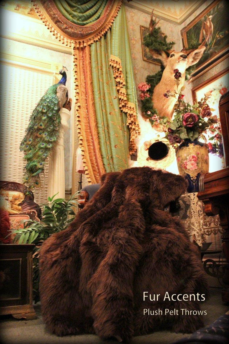 Fur Accents Faux Fur Throw Blanket / Rich Brown Bear Shag 60'' X 70''