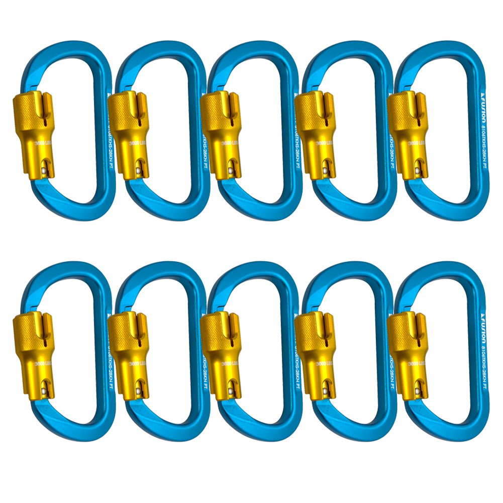 Fusion Climb Swift Aluminum Triple Lock Modified D Shape High Strength Carabiner 10-Pack
