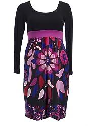 0832a5b044cda Olian Maternity Women's Black Floral Print Scoop Neck Babydoll Dress