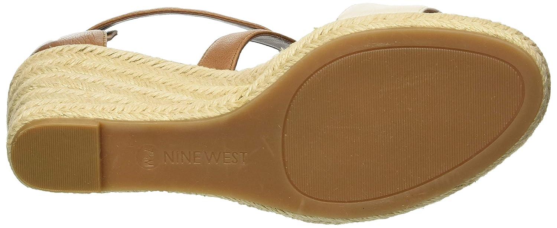 NINE WEST Womens Jorgapeach Leather Wedge Sandal