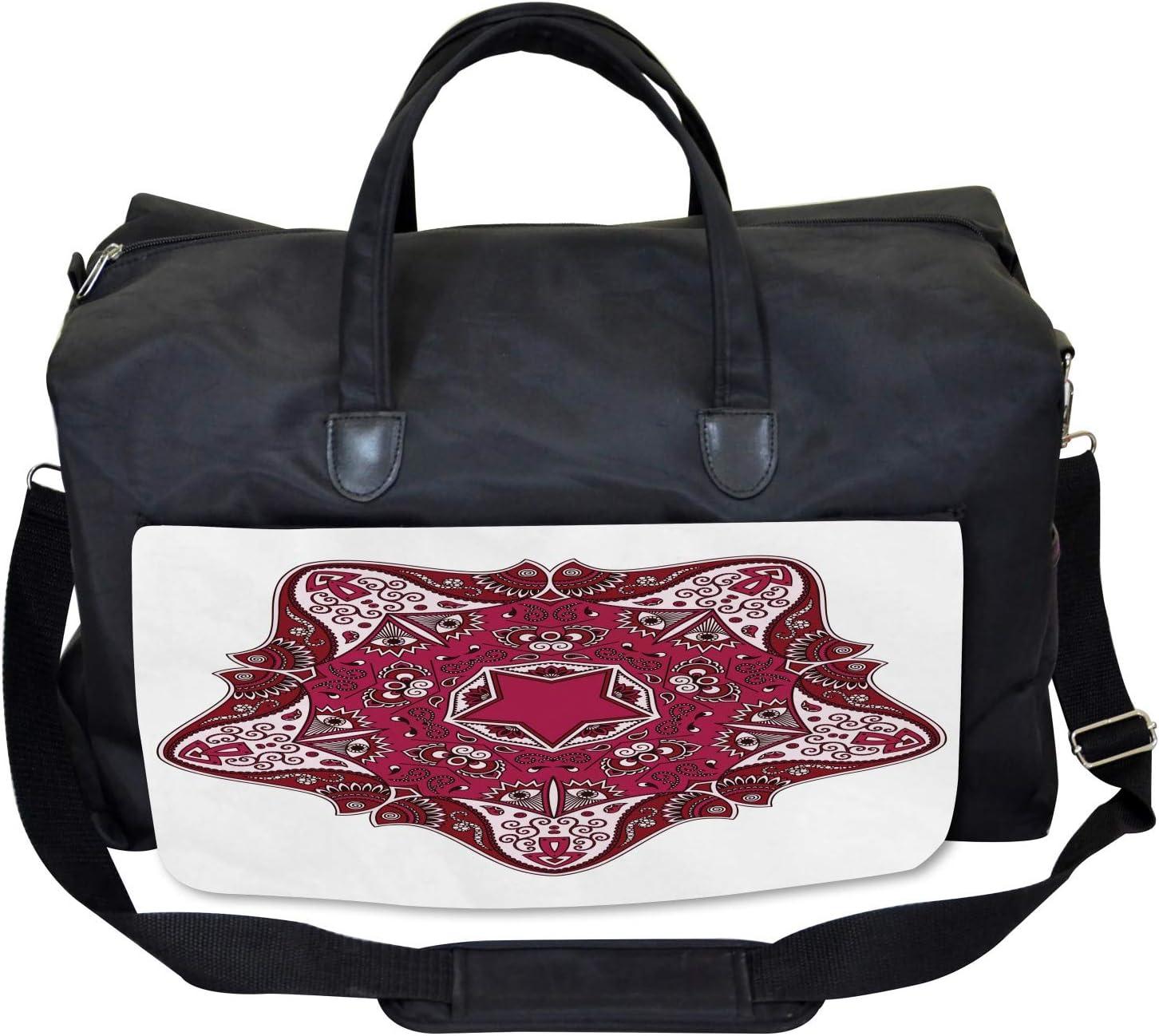 Large Weekender Carry-on Ambesonne Tribal Gym Bag Maroon Mandala Asian