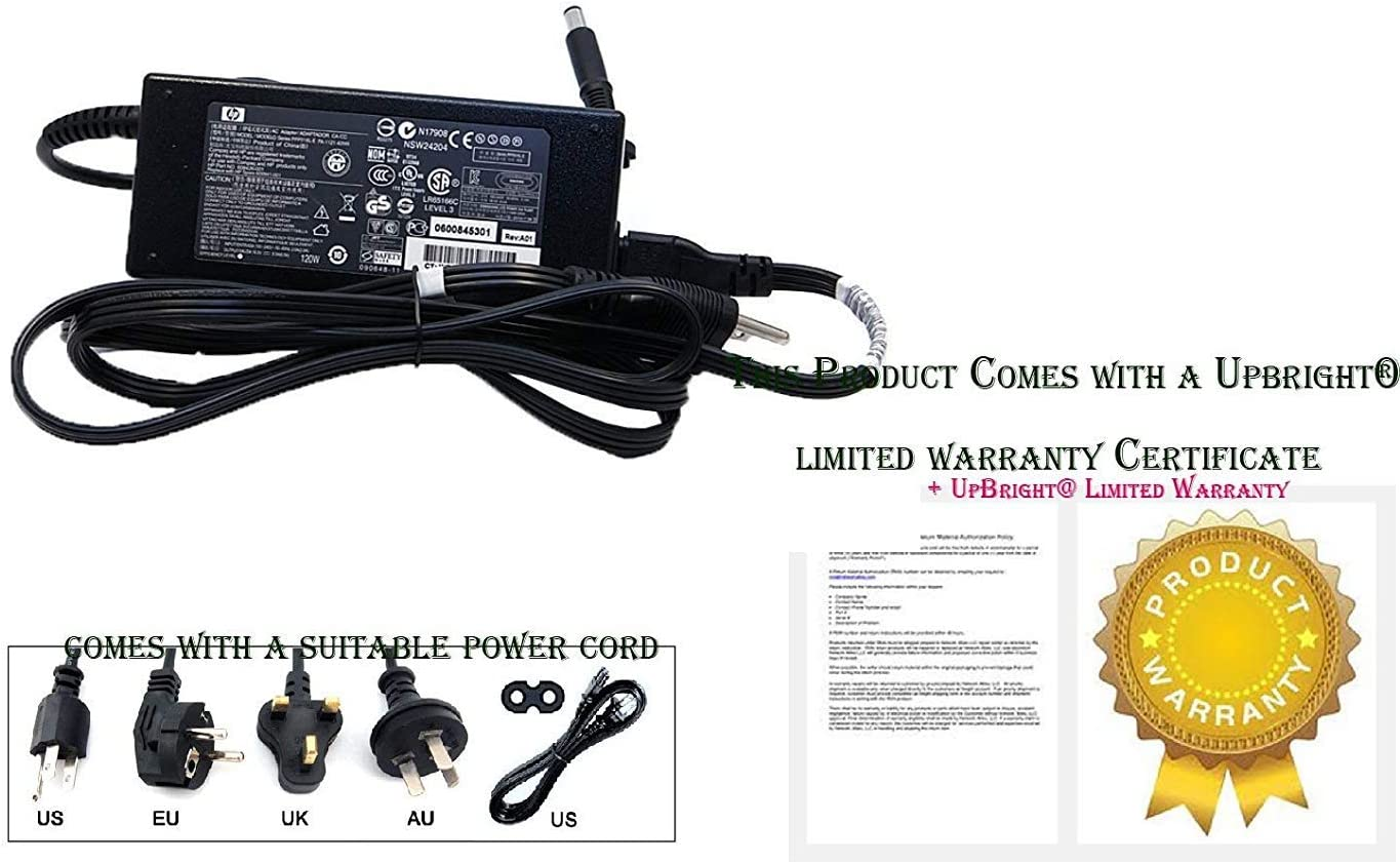 7.4mm Tip UpBright 18.5V 6.5A 120W AC Adapter Compatible with Genuine HP PA-1121-02HW 516798-001 516562-001 PA-1121-12HC 391174-001 384023-001 619484-001 A120A00CL ADP-120Z BB R33030 V85 N193 N17908