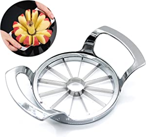QPEY Apple Slicer,Upgraded Version 12-Blade Apple Cutter Slicer Corer,Stainless Steel Extra Large Apple Corer Peeler,Rust Resistant Apple Slicer, Cutter, Wedger,Fruit Slicer