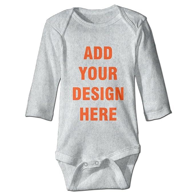 2f272b744 Custom Baby Boys Girls Long-Sleeve Design Your Own Personalized Bodysuit  (Ash - 6