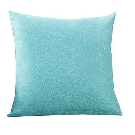 Almohada Funda De Cojín (45 x 45 cm ronamick einfarbige almohada Lino Fundas de cojín (Glückliche sofá cama Home Decorative suave caso auto, azul ...