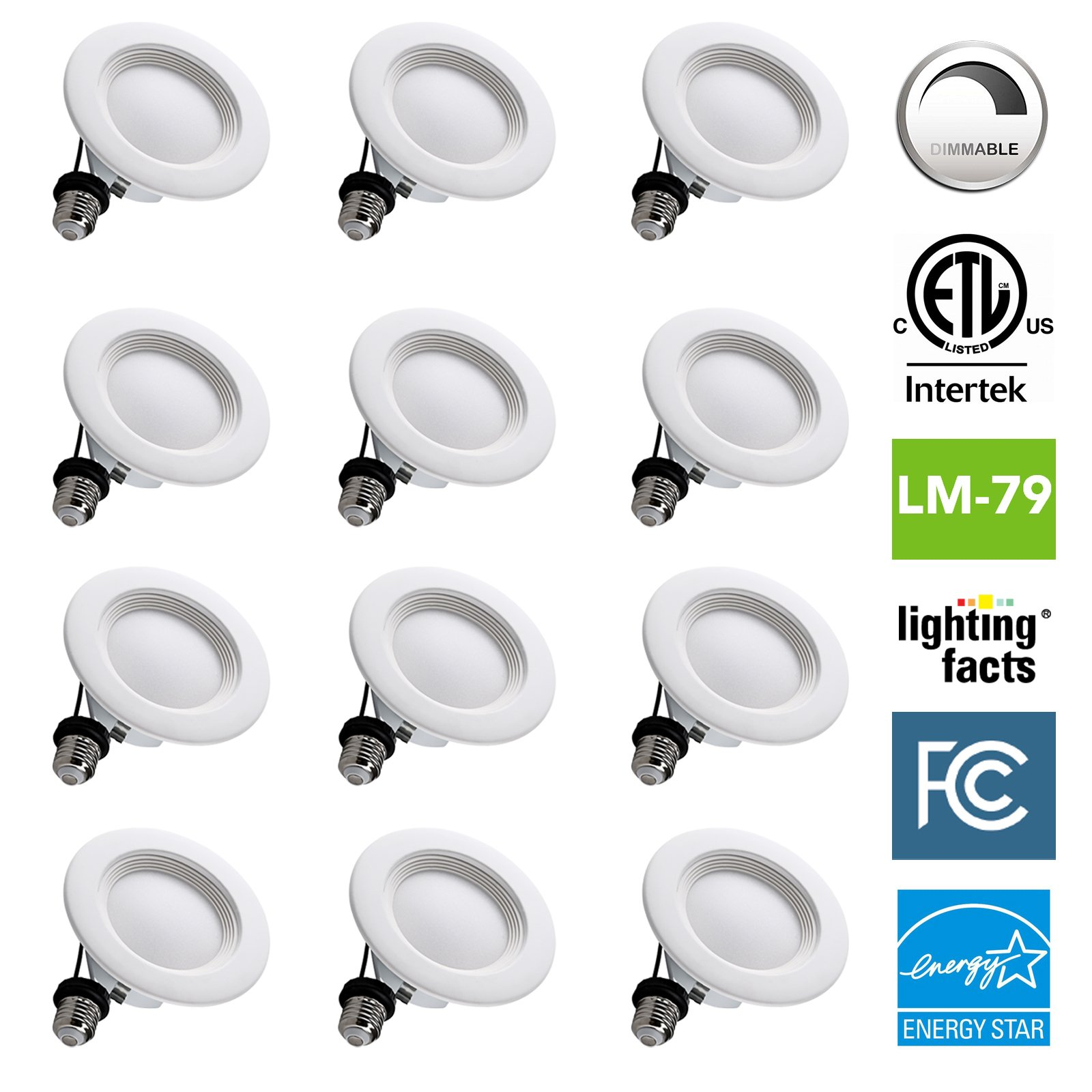 12 Pack NASUN 4 Inch Dimmable LED Downlight, ENERGY STAR, ETL, FCC, 9W, CRI80+, Recessed Retrofit Downlight Lighting Fixture - (Pack of 12), 5 Year Warranty