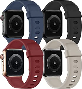 SVISVIPA Sport Bands Compatible with Apple Watch Bands 42mm 44mm, Soft Silicone Wristbands Women Men Replacement Strap for iWatch Series SE/6/5/4/3/2/1,Midnight Blue/Black/Wine Red/Stone