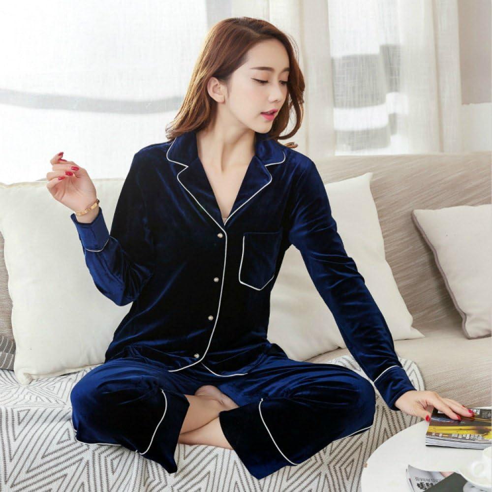 YI Herbst und Winter Gold Samt Damen Lang/Ã/¤rmeligen Pyjamas Set Kragen Strickjacke Mode Hause Kleidung Kann Au/Ã/Ÿerhalb Getragen Werden,Jaspis,S