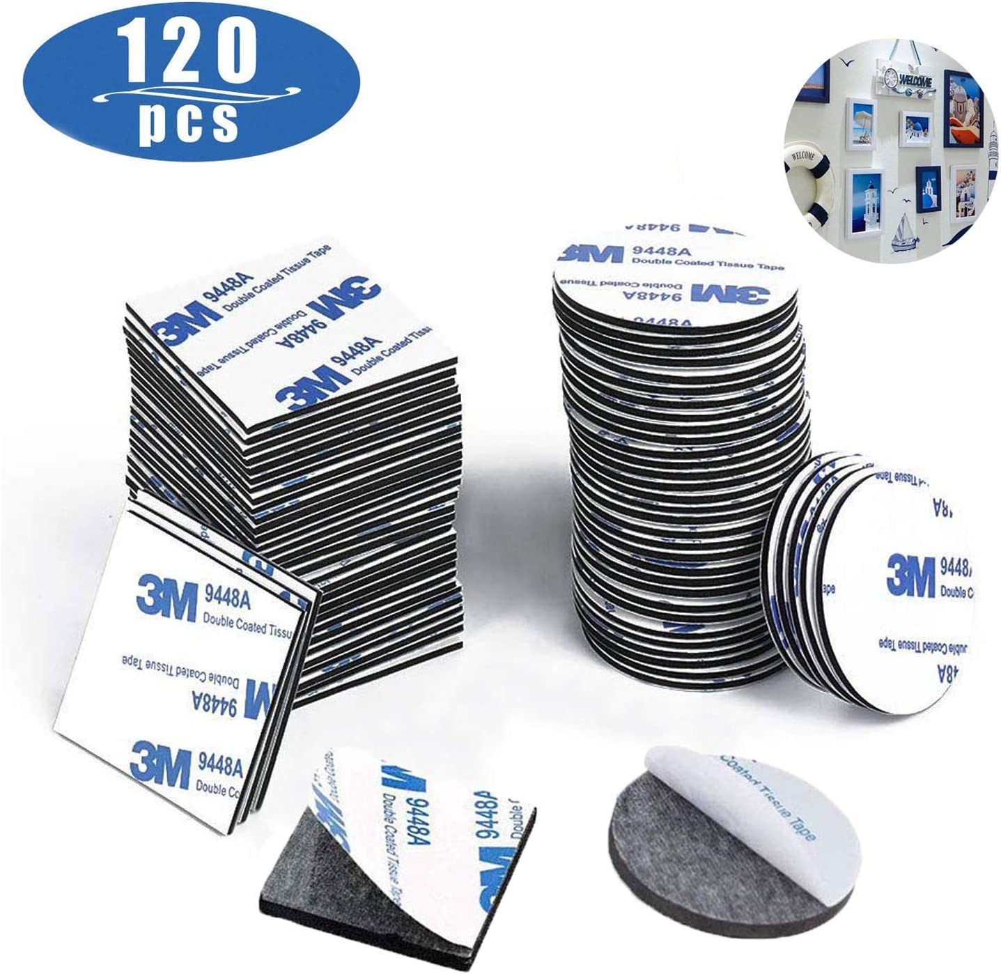120 Pieces Squares and Round Extra Strong Adhesive Mounting Pads Stickers Foam Tape Metals Door LIZHIGE Double Sided Sticky Pads Black Plastics Glasses Stick on Self Adhesive for Walls and Floor