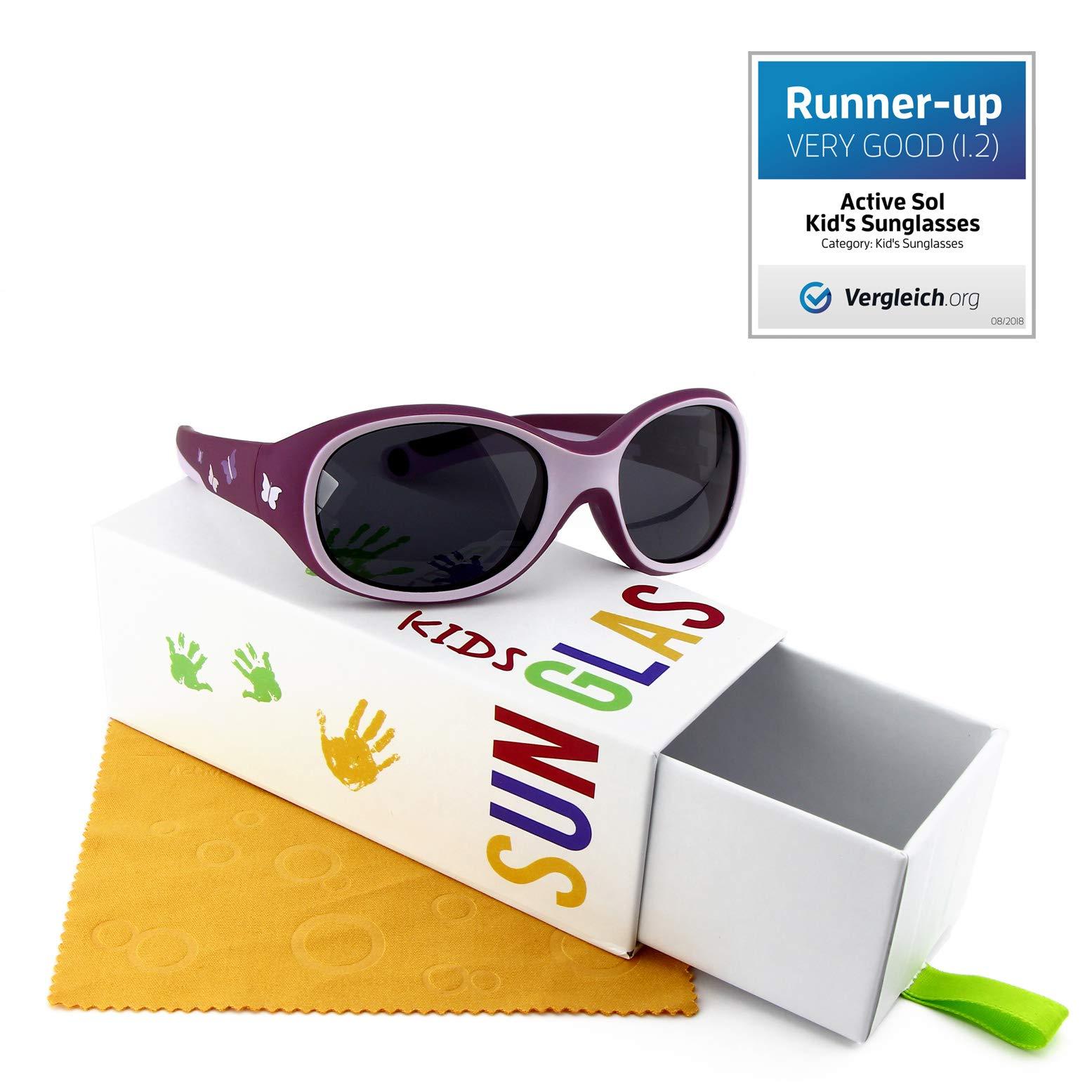 Occhiali da sole per BAMBINI Active Sol | RAGAZZE | Protezione 100% UV 400 | polarizzati | indistruttibili in gomma flessibile | 2-6 anni | 22 grammi