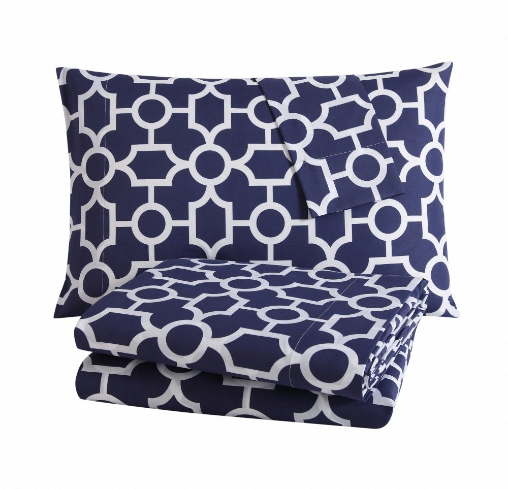 Bourina Queen Bed Sheet Set - Hotel Collection Quatrefoil Pattern-Deep Pockets, Wrinkle and Fade Resistant, Hypoallergenic Printed Sheet and Pillow Case Set Queen,Navy