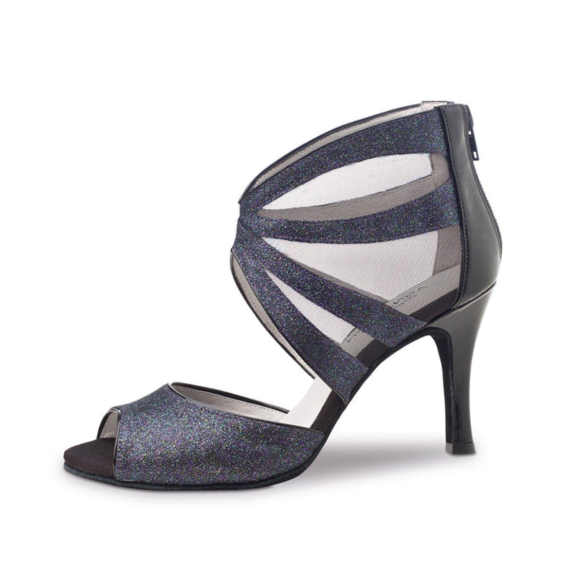 Anna Kern Femmes Chaussures de Danse 766-75 - Vamp Brocart Bleu Glitter - 7,5 CM