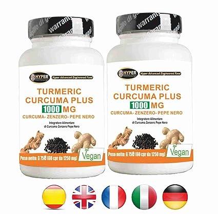 Turmeric Curcuma 1000 La curcumina + Jengibre + piperina quemador de grasa | alta dosis de
