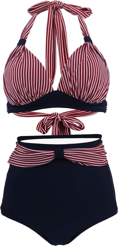 Viloree Vintage 50s Damen Bademode Bikini Set Push Up Hoher Taille Neckholder Bauchweg
