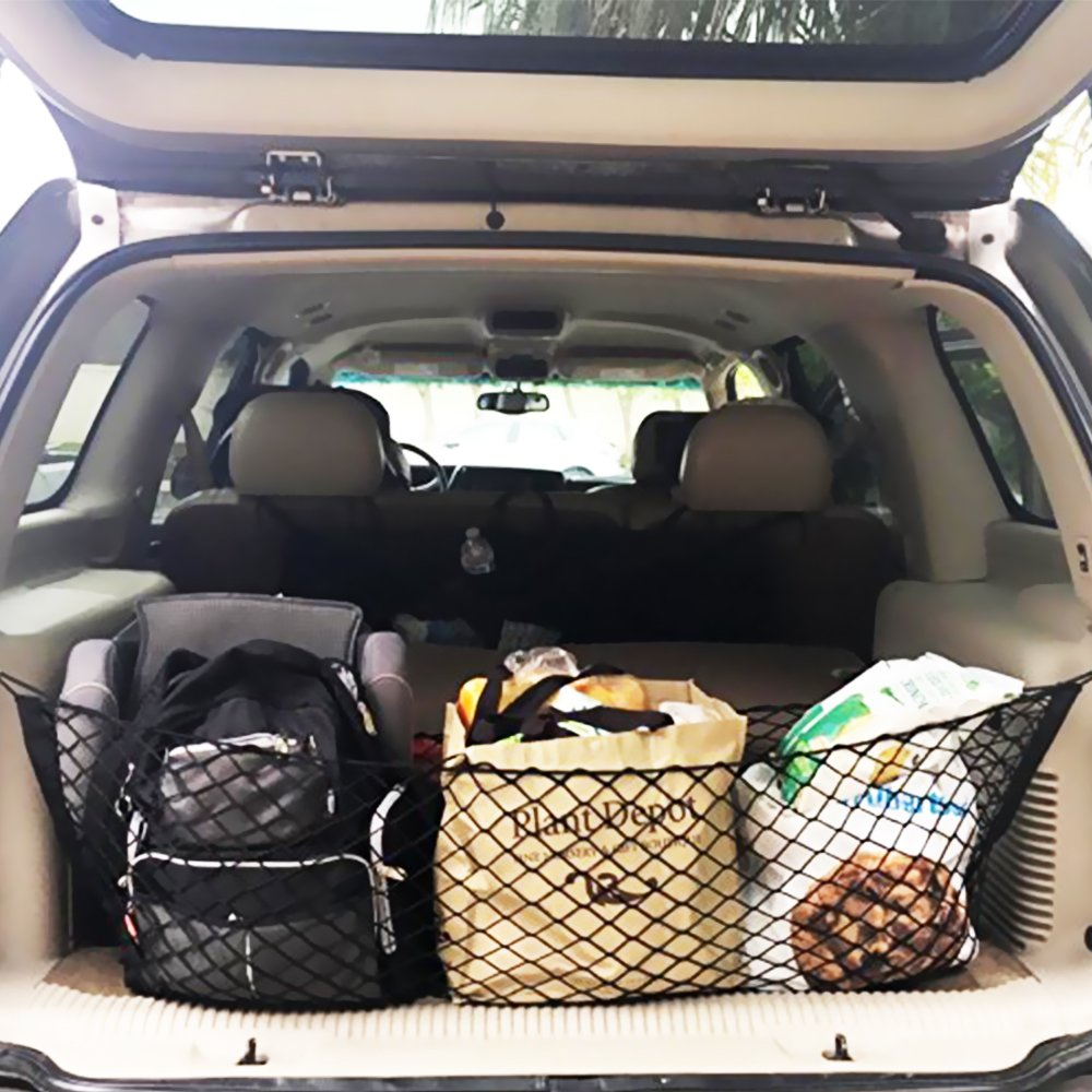 MAXTUF Cargo Net 60 x 120CM Adjustable Elastic Trunk Cargo Organizer Nylon Mesh Rear Car Net for SUV Truck Bed with Utility Free Bonus Hooks to Fix on without Rummaging Pickup
