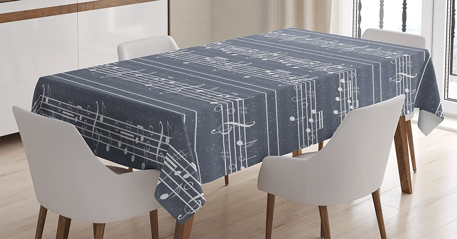 Ambesonne Grey Tablecloth, Classical Music Clay with Notes in Rhythm Jazz Song Melody Treble Clef Image Print, Dining Room Kitchen Rectangular Table Cover, 52