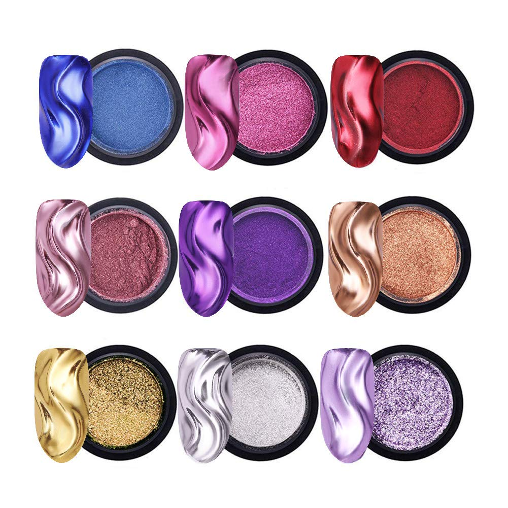 NICOLE DIARY Mirror Nail Glitter Powder Gold Champagne Silver Purple Pink Chrome Metal Effect Nail Glitter Dust Set and 20Ps Free Eyeshadow Brush Makeup Brush(9 Boxes) by NICOLE DIARY