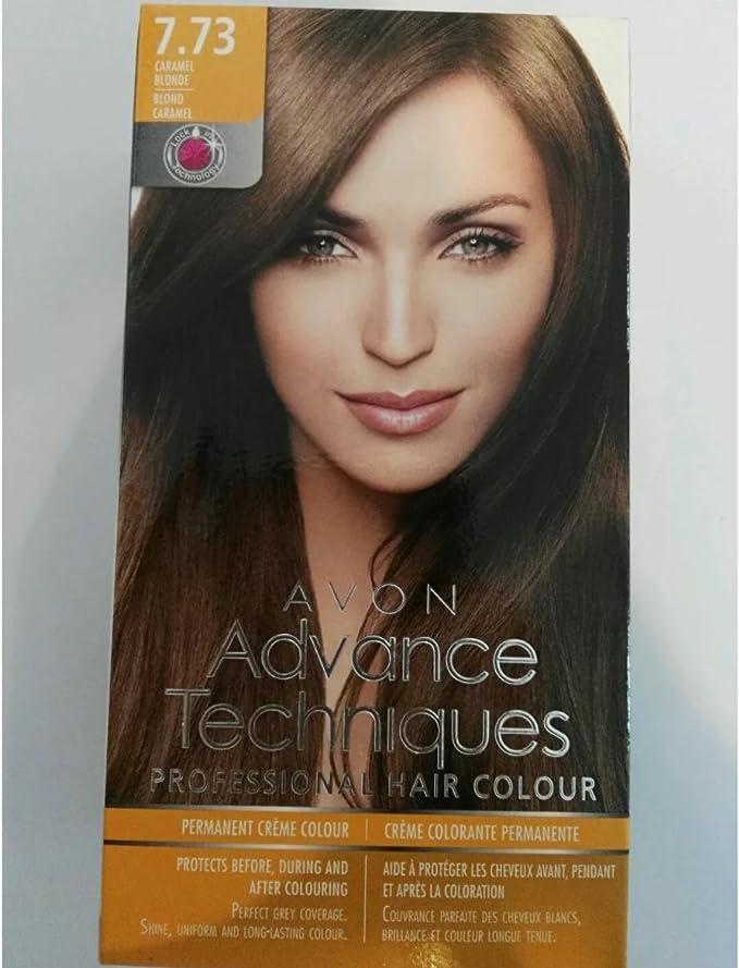 3 x Avon Advance Techniques pelo color/tinte 7.73 caramelo Rubio