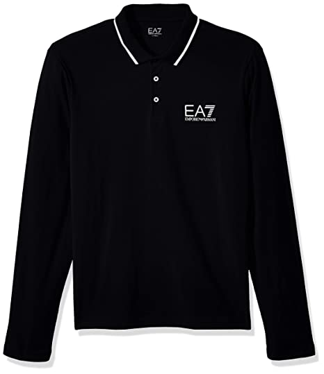 3ba36b92 EA7 POLO SHIRT EMPORIO ARMANI MENS BLACK LONG SLEEVE TOP: Amazon.co.uk:  Clothing
