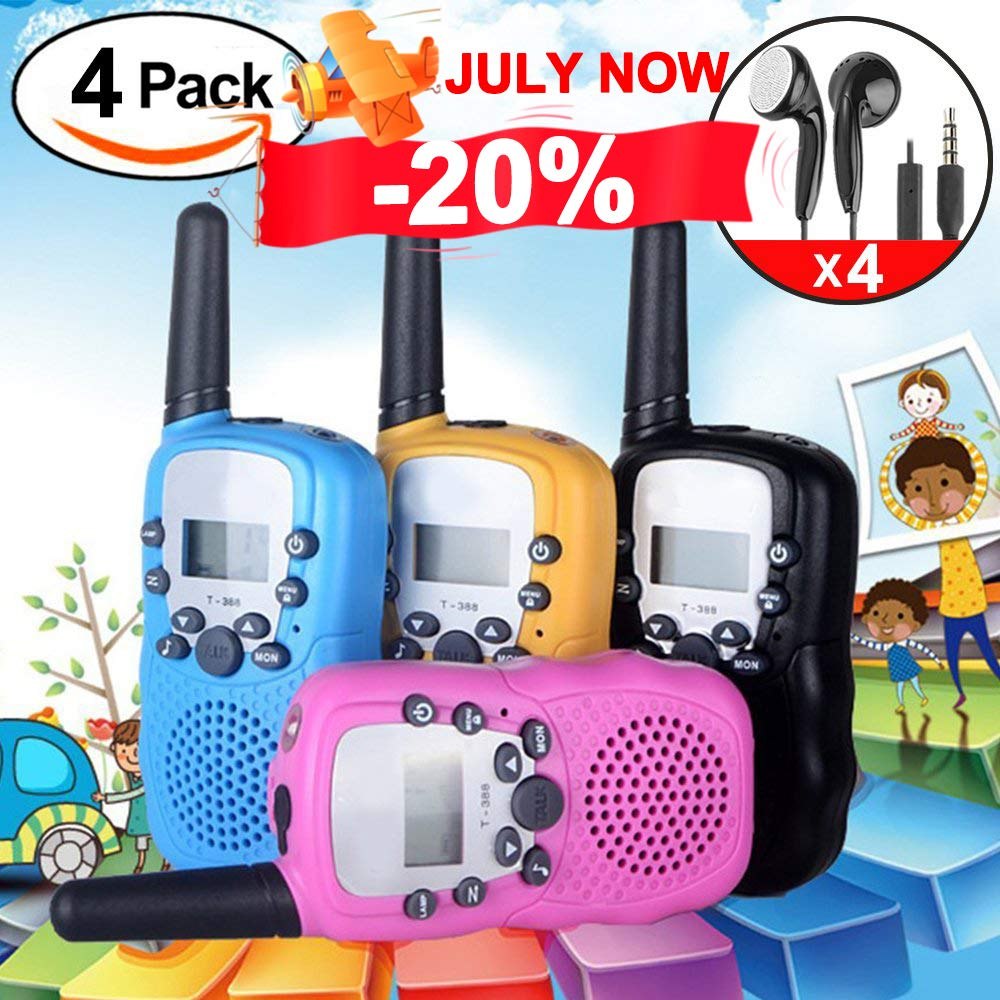 4Pack Kids Walkie Talkie Girls Boys Long Range Two Way Radio 22 Channel LED Flashlight Marine Cruise FRS Camping Accessories Toys Hiking Family Games Outdoor Holiday Birthday Gifts [SUPER CUT]