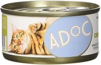 Adoc Naturale Pollo con Prosciutto  per gatti adulti, confezione da 24 pezzi